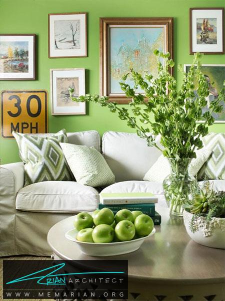 ایجاد احساس طراوت با رنگ سبز-ترکیب رنگ اتاق