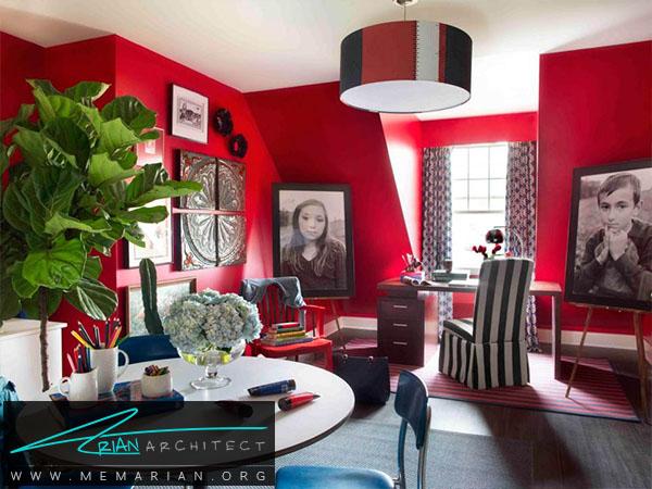 رنگ قرمز در اتاق پذیرایی خانه -ترکیب رنگ اتاق