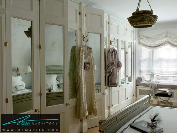 ایده استفاده از آینه روی درب کمد دیواری -دکوراسیون کمد دیواری