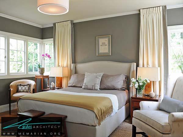 اتاق خواب مردانه بادکوراسیون خاکستری -دکوراسیون خاکستری