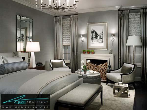 اتاقی زرق و برق با استفاده ازدکوراسیون خاکستری -دکوراسیون خاکستری