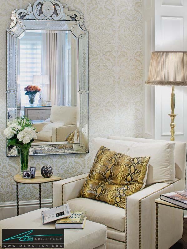 آینه ونیزی و مبلمان سفید راحتی -مبلمان خانگی جدید