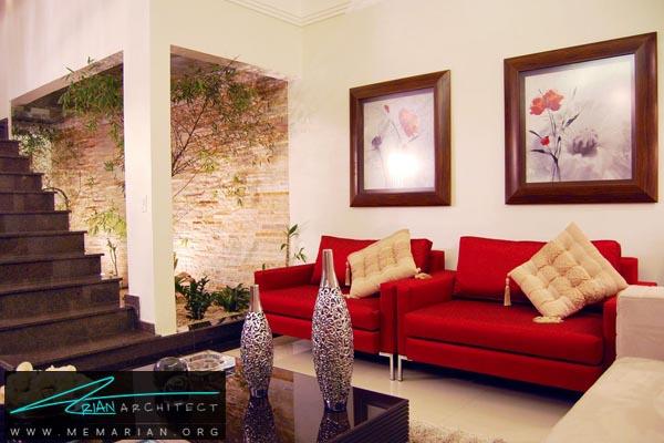مبلمان قرمز رنگ در دکوراسیون خانه - کاربرد رنگ قرمز در دکوراسیون