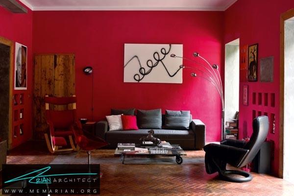 دیوارهای قرمز در خانه - کاربرد رنگ قرمز در دکوراسیون