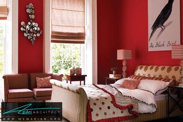 دکوراسیون رنگ قرمز برای اتاق خواب - کاربرد رنگ قرمز در دکوراسیون