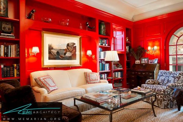 کاربرد رنگ قرمز در دکوراسیون اتاق پذیرایی - کاربرد رنگ قرمز در دکوراسیون