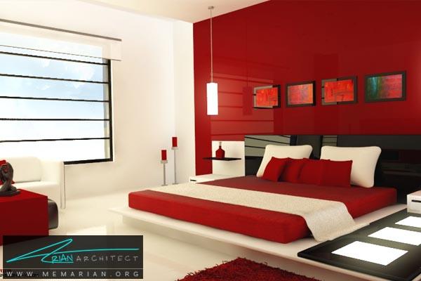 رنگ قرمز در اتاق خواب و تخت خواب - کاربرد رنگ قرمز در دکوراسیون
