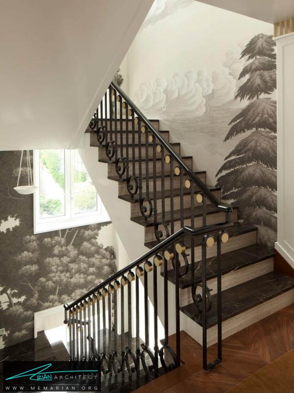 راه پله استثنائی با نقاشی های خاکستری الهام بخش-تزیین دکوراسیون راه پله