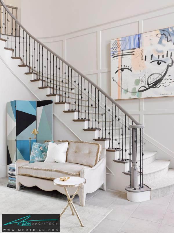 استفاده از رنگ سفید در تزئین راه پله، ایده ای تمیز و معاصر-تزیین دکوراسیون راه پله