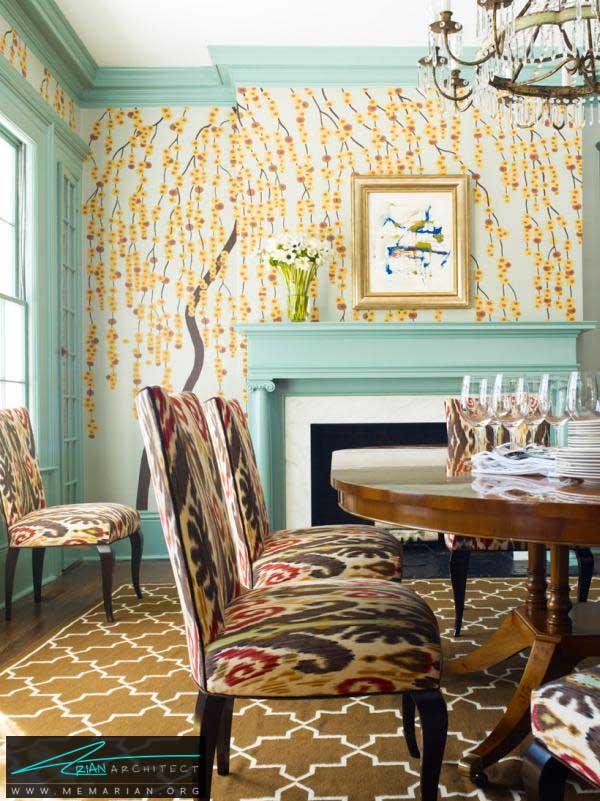 ترکیب الگوهای گل به عناصر گوناگون اتاق -دکوراسیون اتاق غذاخوری
