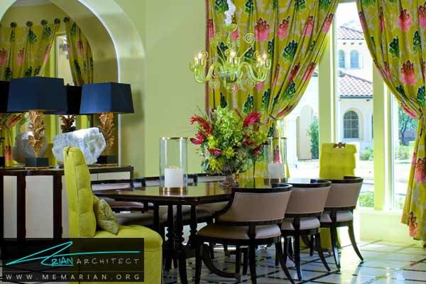 خلاقیت با استفاده از رنگ های سبز و صورتی -دکوراسیون اتاق غذاخوری