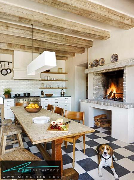 شومینه در آشپزخانه
