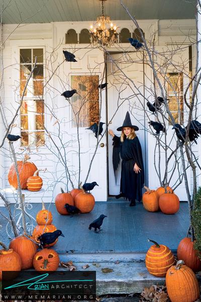 کدوهای پرتعداد در ورودی منزل-دکوراسیون هالووین