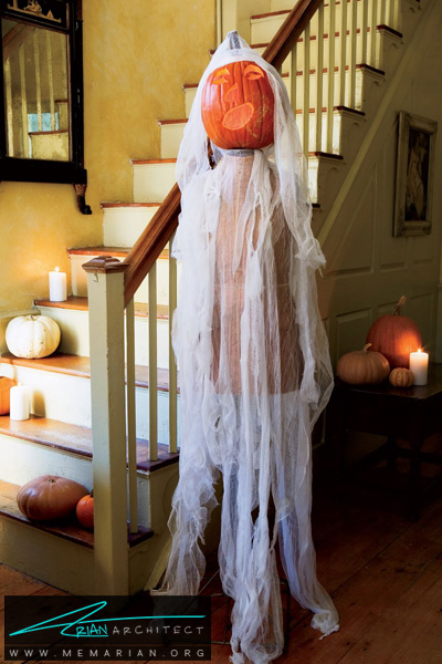 کدو تنبل هایی به شکل روح -دکوراسیون هالووین
