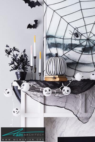 بافت تار عنکبوت روی دیوار -دکوراسیون هالووین