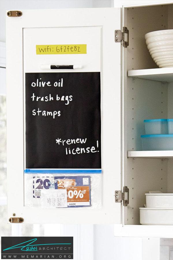 ایده خلاقانه تخته سیاه پشت درب کابینت -سازماندهی خانه
