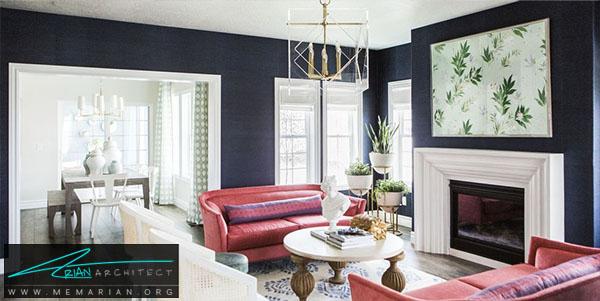 ترکیب رنگ فوق العاده دکوراسیون -چیدمان اتاق پذیرایی
