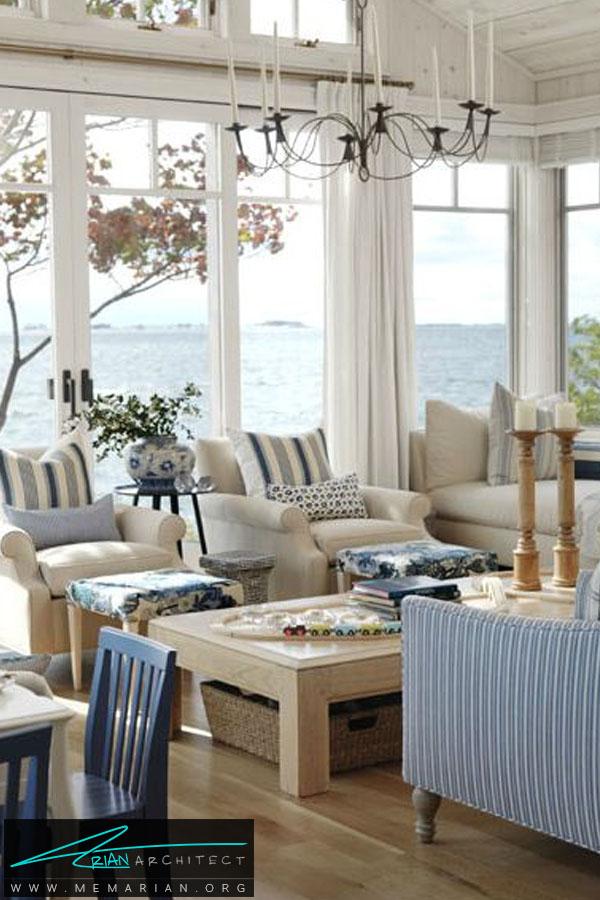 خانه ساحلی با دکوراسیون روشن -چیدمان اتاق پذیرایی