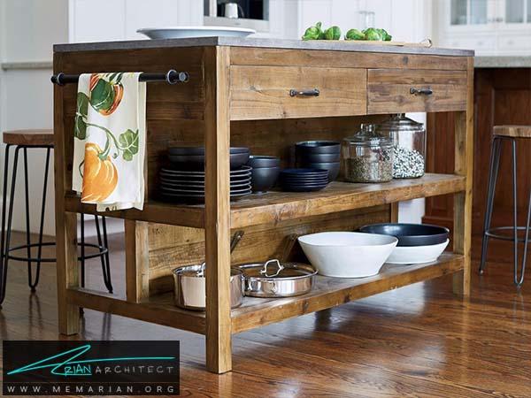 میز جزیره چوبی سبک - دکوراسیون میز جزیره آشپزخانه