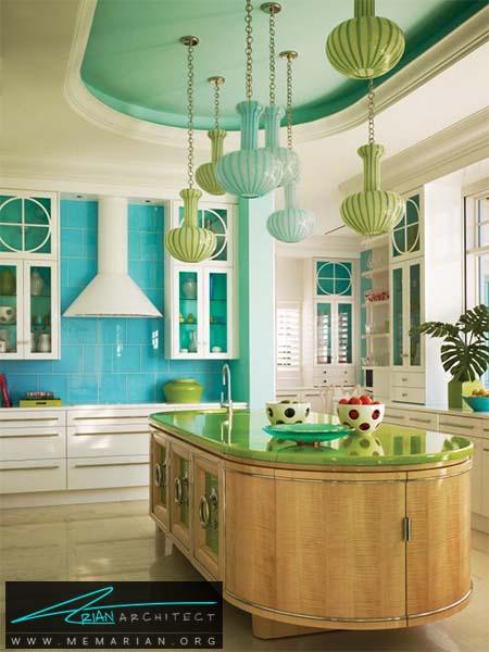 دکوراسیون میز جزیره آشپزخانه بیضی شکل با رنگ لیمویی - دکوراسیون میز جزیره آشپزخانه