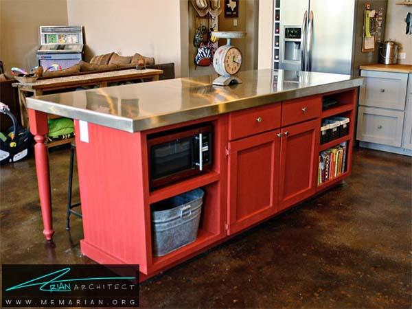میز جزیره قرمز رنگ و چندمنظوره - دکوراسیون میز جزیره آشپزخانه
