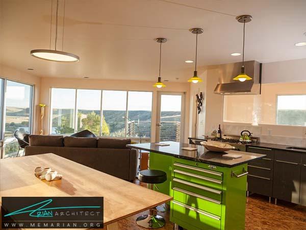 میز جزیره سبز رنگ و مدرن- دکوراسیون میز جزیره آشپزخانه