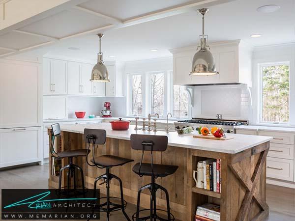 میز جزیره مدرن چوبی- دکوراسیون میز جزیره آشپزخانه