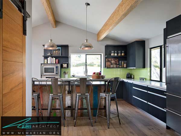 میز مدرن و کابینت های روکش چوبی - دکوراسیون میز جزیره آشپزخانه