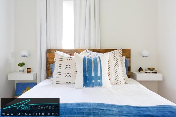 تخت خواب بزرگ و طاقچه های اطرافش -دکوراسیون اتاق خواب کوچک