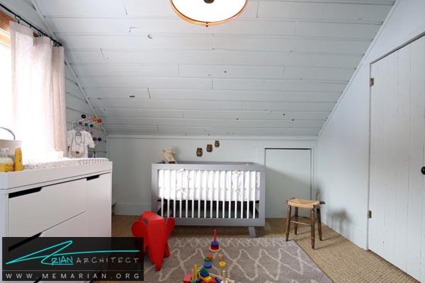 اتاق خواب کودک زیر شیروانی-دکوراسیون اتاق خواب کوچک