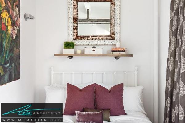 طاقچه ایمن بالای تخت خواب -دکوراسیون اتاق خواب کوچک