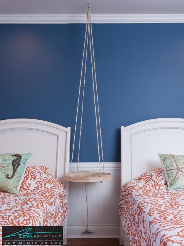تخت خواب و صندلی آویزان شده-دکوراسیون اتاق خواب کوچک