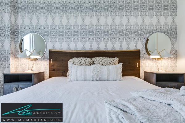 کاغذ دیواری الگودار در پس زمینه اتاق-دکوراسیون اتاق خواب کوچک