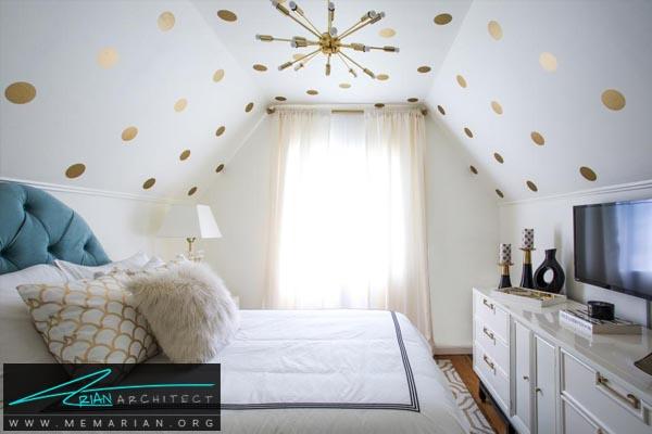 دکوراسیون طلایی سفید در اتاق خواب کوچک-دکوراسیون اتاق خواب کوچک