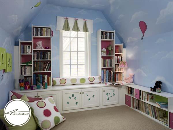 کتابخانه در میان ابرهای روی دیوار -تزئین دکوراسیون اتاق کودک