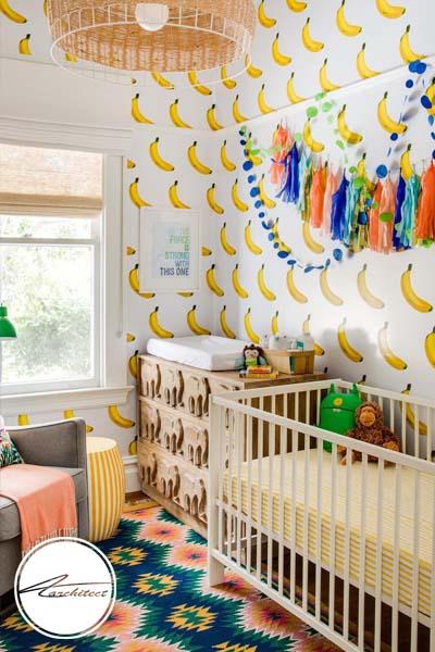 طرح کاغذ دیواری میوه برای دیوار اتاق کودک -اتاق کودک