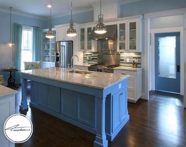 سایه های آبی -ترکیب رنگ آشپزخانه