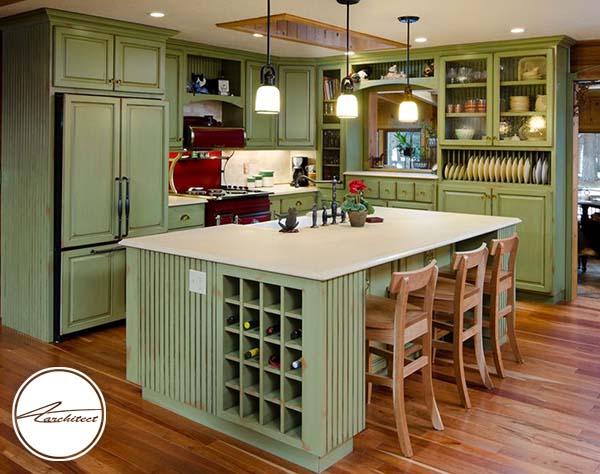 دکوراسیون سبز و چوبی -ترکیب رنگ آشپزخانه