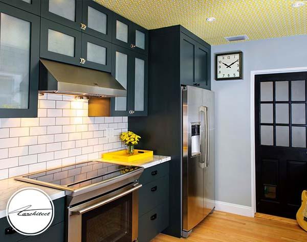 زرد لطیف برای سقف -ترکیب رنگ آشپزخانه