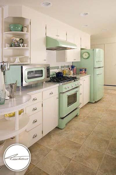 ترکیب رنگ سبز فسفری و سفید -ترکیب رنگ آشپزخانه