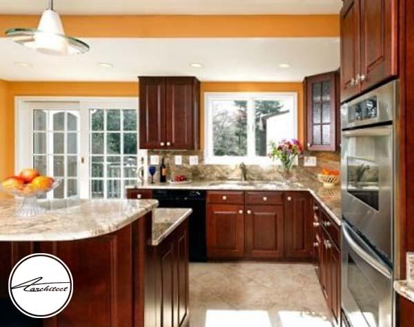 نارنگی و قرمز -ترکیب رنگ آشپزخانه