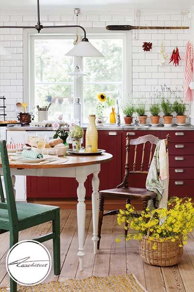 رنگ قرمز شاد -ترکیب رنگ آشپزخانه