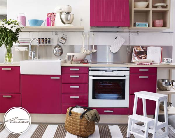 صورتی و سفید -ترکیب رنگ آشپزخانه