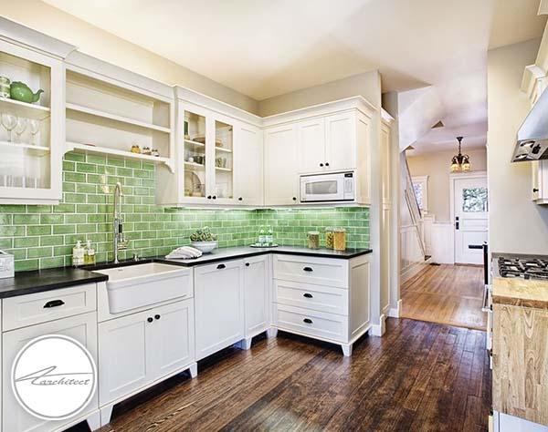 دیوارهای آجری سبز -ترکیب رنگ آشپزخانه