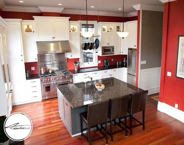 رنگ قرمز برای اتاق ناهارخوری -ترکیب رنگ آشپزخانه