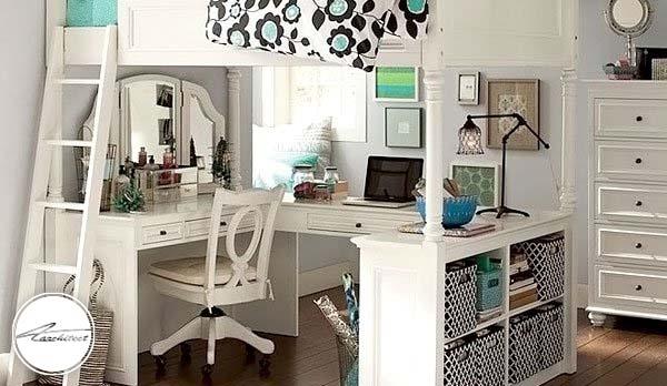 ترکیب اتاق کار و اتاق خواب -دکوراسیون شیک اتاق دختر