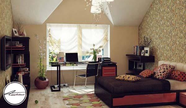 دکوراسیون اتاق دخترانه آرام و سازگار با طبیعت -دکوراسیون شیک اتاق دختر