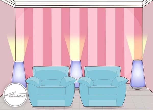 نورپردازی از پایین به بالا به سقف -بلندتر نشان دادن سقف خانه