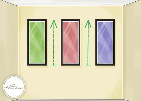 بکارگیری تابلو، پنجره و قاب عکس های عمودی روی دیوار -بلندتر نشان دادن سقف خانه