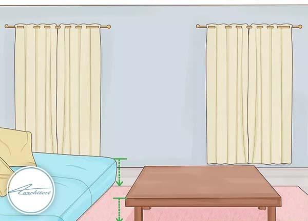 از مبلمانی با قد و ارتفاع کوتاه تری استفاده کنید -بلندتر نشان دادن سقف خانه